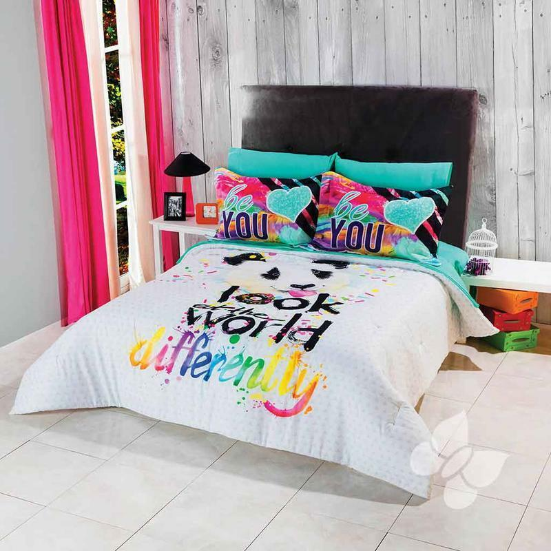 Panda Weiß Teen Reversible Comforter Set With Awesome Pring and Farbe Splash