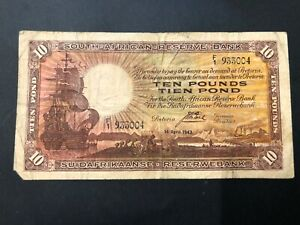 South-Africa-10-pounds-banknotes-1943-circulated-VF-just-missing-pcs-at-left-cor