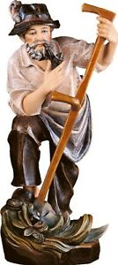 Statue-Skulptur-der-Landwirt-cm-15-in-Holz-der-in-Groeden-Dekoriert-Hand