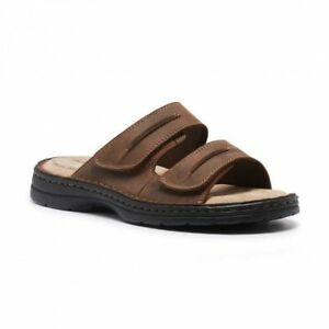 a524ba6c10a8 MENS HUSH PUPPIES SLIDER BROWN SANDALS SLIP ON EASY TO WEAR LEATHER ...