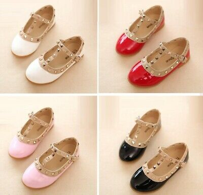 Girls Leather Flat Shoes Children Rivets Leisure For Kids Dancing Party Sandals