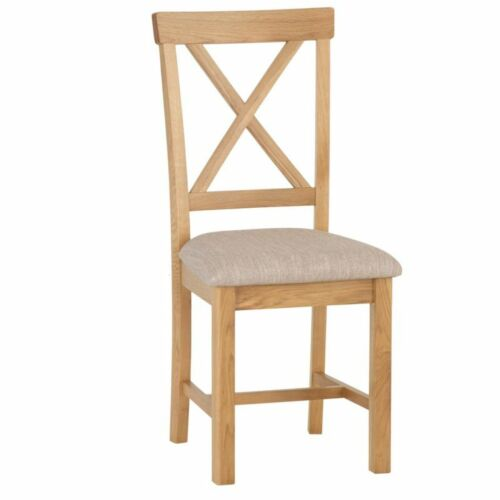 Pair of Dovedale Oak Cross Back Dining Chairs with Fabric Seat Pads
