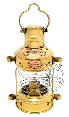"14/"" Polished Brass Ship Lantern~Nautical Marine Anchor Lamp~Maritime Boat Light"