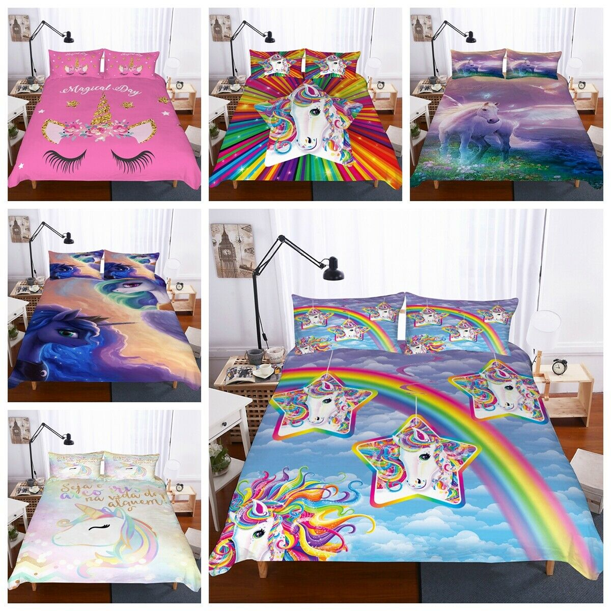 3D colorful Rainbow Unicorn Kids Duvet Cover Bedding Set Quilt Cover Pillowcase