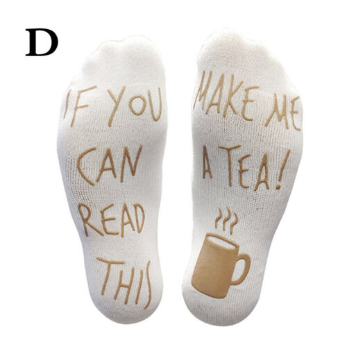 Men Women Fleece Ankle Socks Letter Print If You Can Read This Bring Me Wine