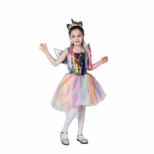 Girls Rainbow Unicorn Dress Birthday Cosplay Party