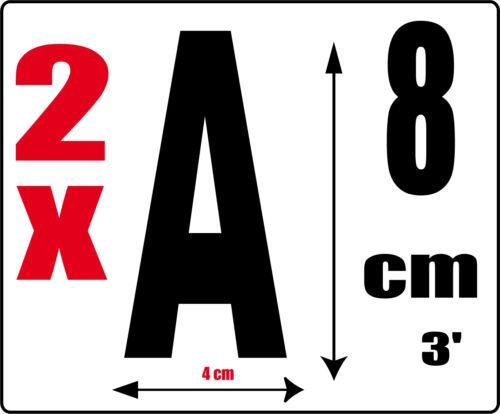 2 Lettres A Sticker autocollant noir hauteur 8cm Lettre adhésive en vinyle