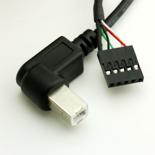 USB 2.0 B Male Right//Left Angled to Dupont 5 Pin Female Header Motherboard Cable