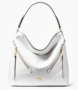 Details about Michael Kors Bag Handbag Bag Evie LG Hobo Leather Optic White New 30t8gzuh7l