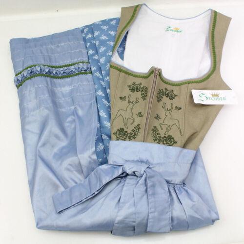 Stoiber Damen Dirndl 117102-7 Trachtenkleid 2-teilig Maxikleid Beige Blau Grün