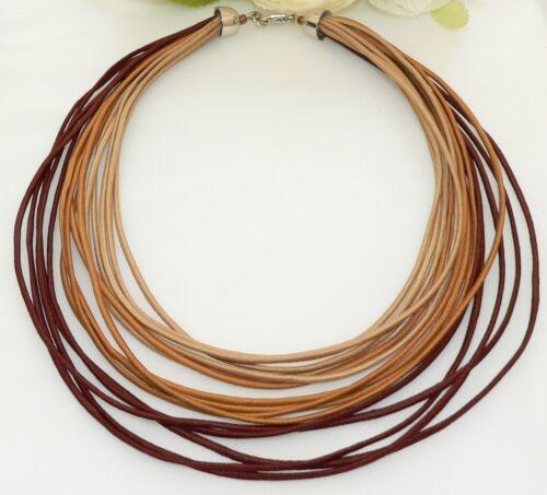 Kette Halskette Collier Statement Textil mehrreihig braun rost beige  393g