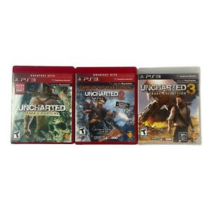 Uncharted 1, 2 & 3 PS3 Game Trilogy - Bundle Lot - Sony PlayStation 3 - Complete