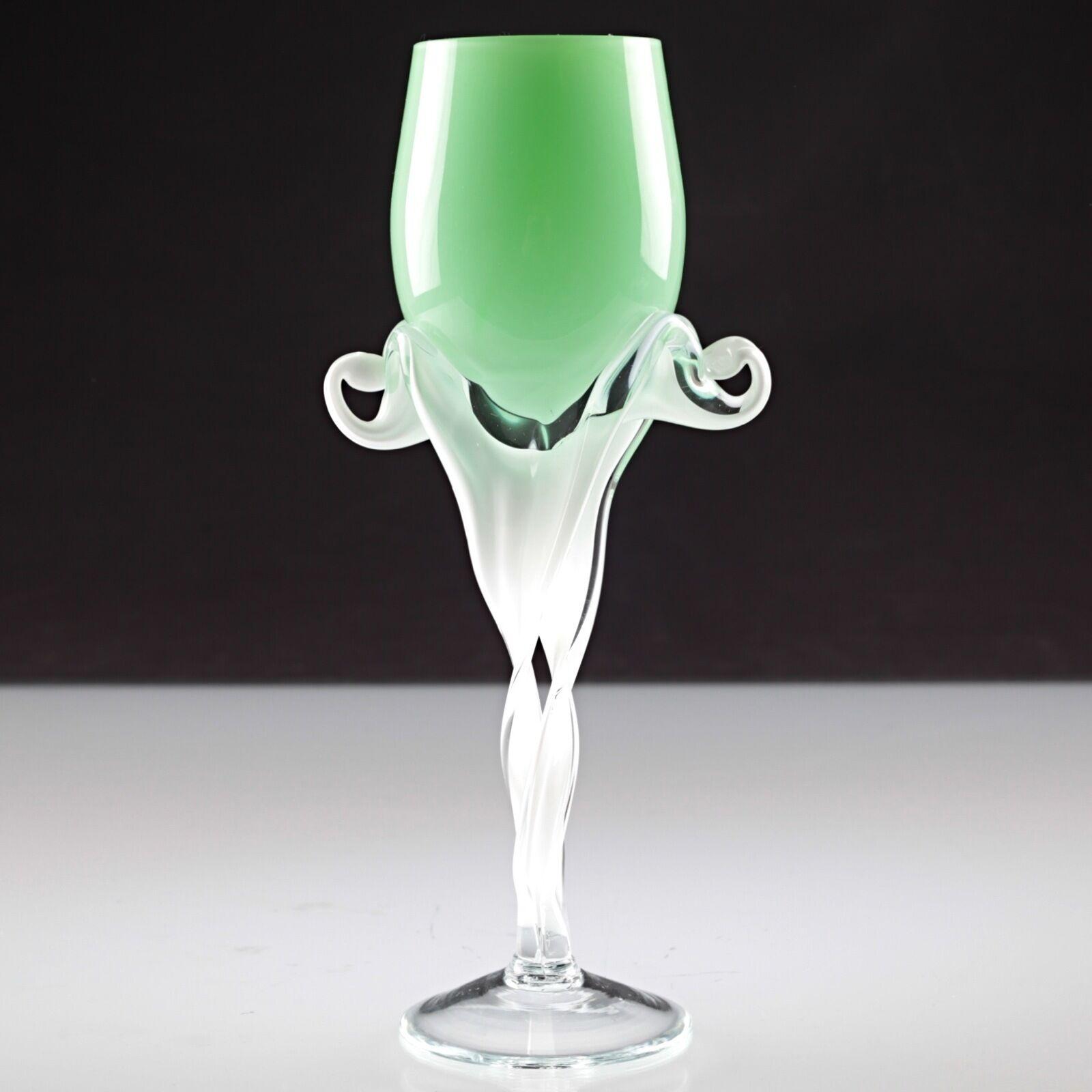 1 großes Vintage Weinglas grün weiß lindgrün lindgrün lindgrün Glas wohl Murano U4U 092e7b