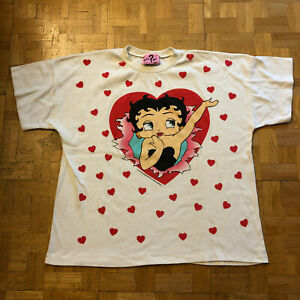 VTG 80S 1985 BETTY BOOP ALL OVER PRINT HEARTS T SHIRT SINGLE STITCH VALENTINES