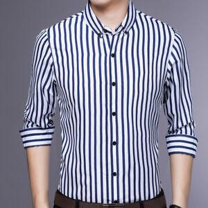 Mens-Long-Sleeves-Shirts-Dress-Striped-Bussiness-Work-Slim-Multicolor-EC6489