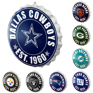 8fc5ae4a Details about NFL Football Team Logo Bottle Cap Wall Sign - Choose Team