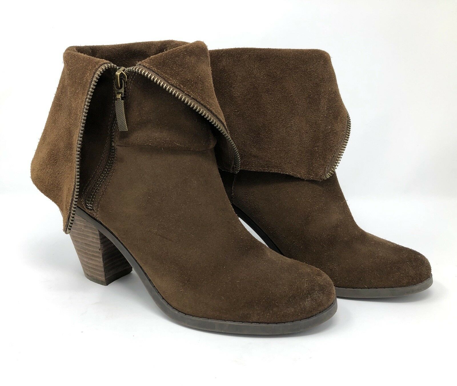 ADAM TUCKER Me Too Size 10 Womens Ankle Boots Pelican Brown Suede Fold Down