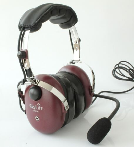SkyLite SL900M Aviation Pilot Headset with GEL GA Dual Plug+ MP3/Radio In - Red