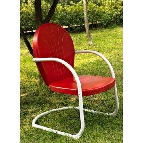 Metal Vintage Patio Lawn Furniture Retro Clam Shell Chair Spring Base Deck Porch