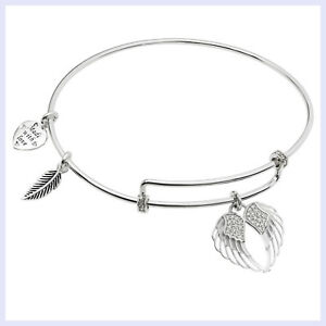 Rhodium-on-Sterling-Silver-Angel-Wing-Clear-CZ-Heart-Feather-Dangle-Charm-Bangle