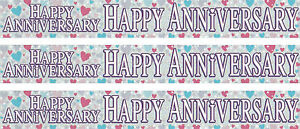 HAPPY ANNIVERSARY WHITE WITH PINK AND BLUE HEARTS FOIL BANNERS EX