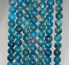 6-7MM APATITE GEMSTONE GRADE A OCEAN BLUE ROUND 6-7MM LOOSE BEADS 7.5""