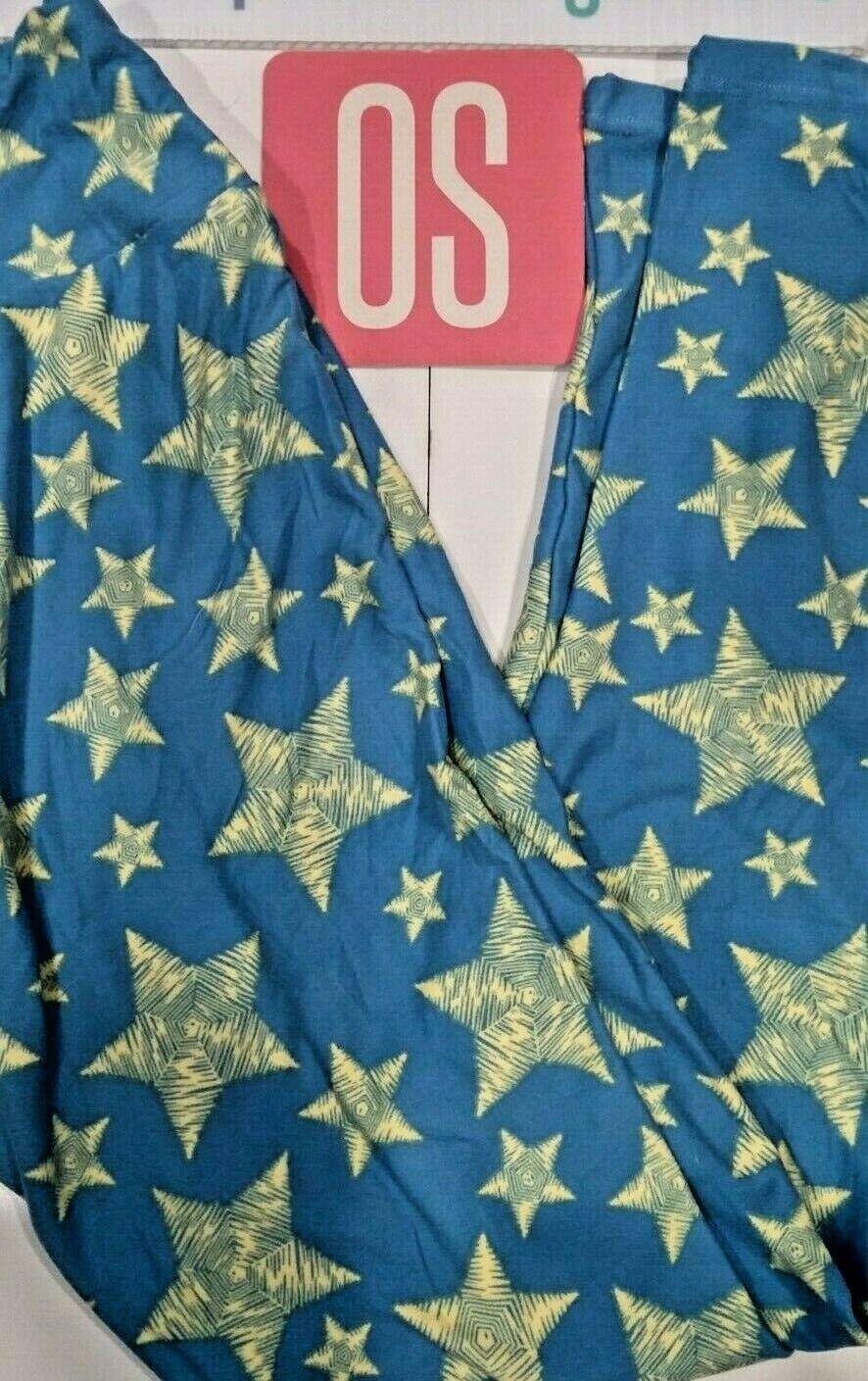 6e9546eb3297d4 LuLaRoe One Size Stars Americana America Leggings OS bluee White Beige