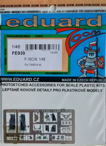 Eduard 1//48 Couleur FE930 Zoom Etch pour le Tamiya F-16C//N Fighting Falcon Kit