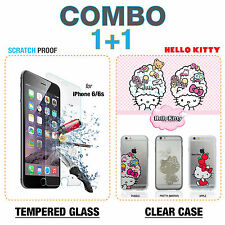 COMBO DEAL iPhone 6 / 6s HELLO KITTY Apple clear case + Glass Screen Protector
