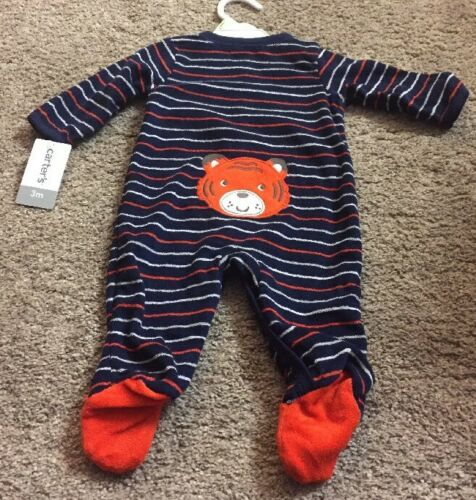 NWT CARTER/'S BABY PAJAMAS NAVY BLUE TERRY CLOTH SNAP STRIPED BEAR 3 M