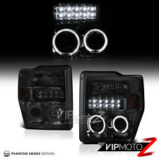 Ford 08-10 F250/F350 SuperDuty SD Truck SMOKE LED HaLo Projector Headlights Lamp