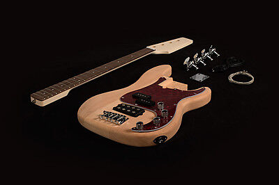 DIY Electric Bass Guitar Kit Project Bolt-On Solid Mahogany Body Maple Neck