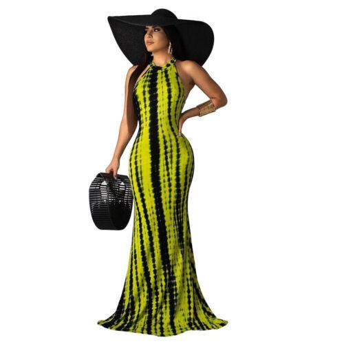 G4120  Fashion Woman Tie dye printed Halter bodycon Long Dress sleeveless S-XL