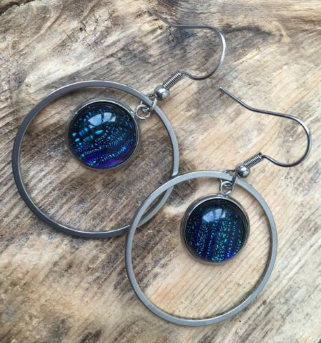 Stainless steel Hypoallergenic Blue Dichroic Glass Hoop Dangle Earrings