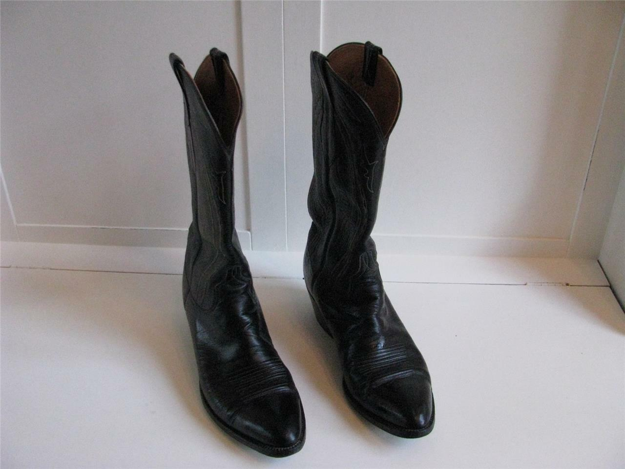 Lucchese Cowboy bottes en Cuir noir San Antonio 10B Fantaisie Couture