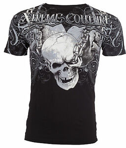 XTREME-COUTURE-by-AFFLICTION-Men-T-Shirt-WHIPLASH-Skull-Chains-Biker-MMA-UFC-40