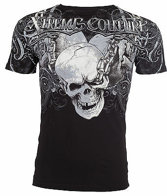 Xtreme Couture AFFLICTION Men T-Shirt WHIPLASH Skulls Tattoo Biker UFC M-4XL $40