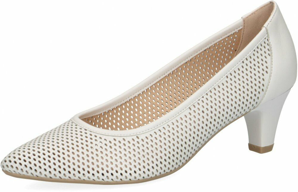 Caprice Damen Pumps Weiß Schuhe Leder 22510-102