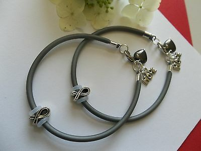 2 Brain Cancer Awareness Bracelets With Ribbon Hope Charms Heart Ebay