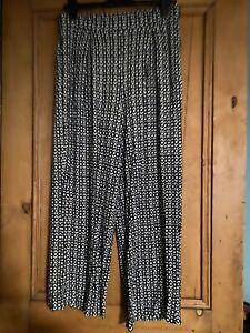 Next-Jambe-Large-Extensible-En-Jersey-Taille-Elastique-Pantalon-Taille-UK-16-Noir-Blanc-Neuf