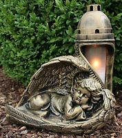 Engel Grablampe Bronze Grablaterne Massiv Grabschmuck Schutzengel Grablicht Neu