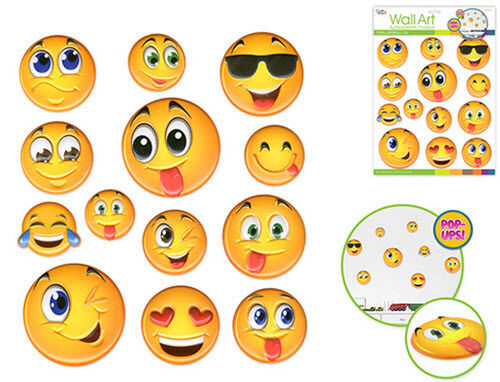 Emoji D Popups Wall Stickers Decals Teen Kid Decor Phone Text - Emoji wall decals
