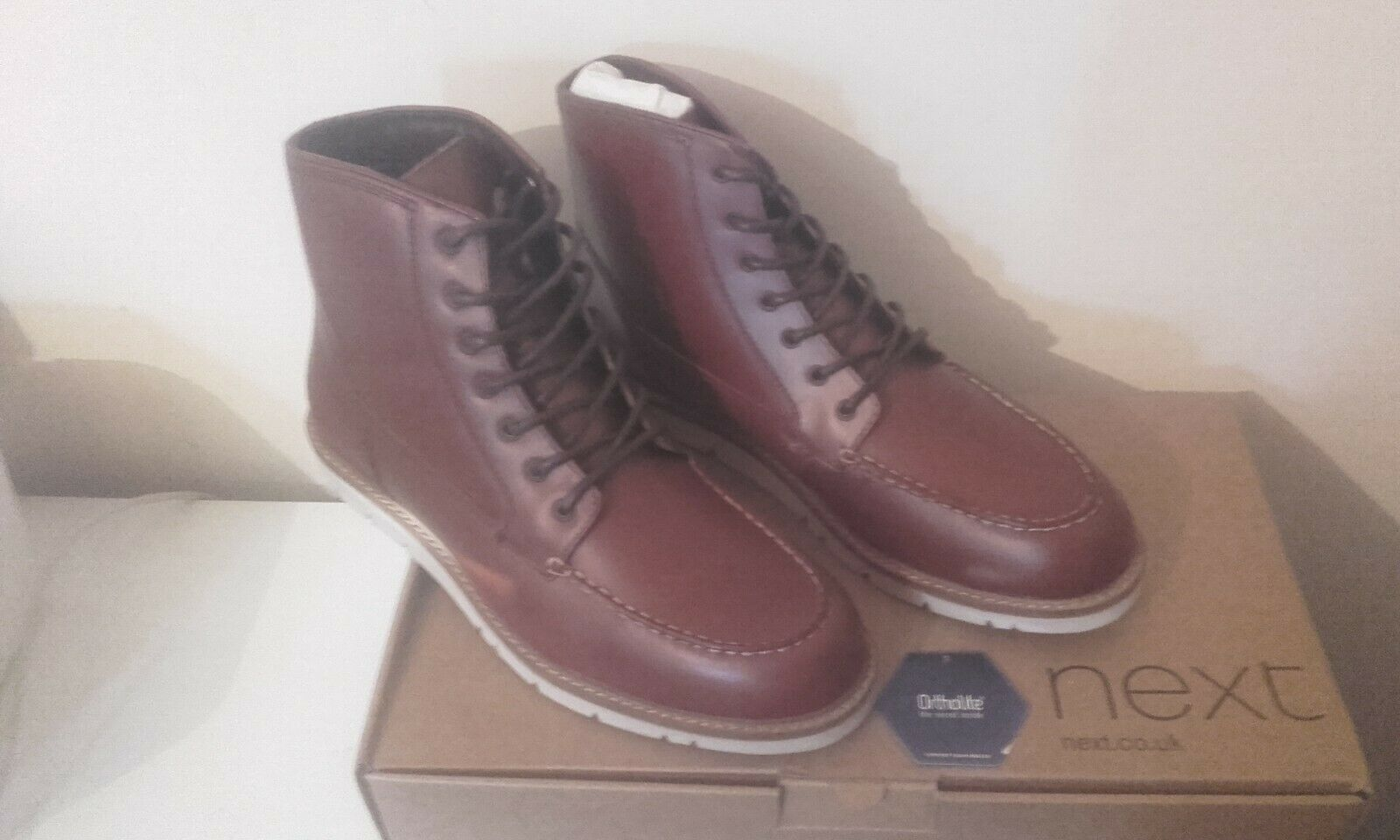 MENS BOOTS SIZE 9 UK / 43 EURO BY NEXT. BROWN LEATHER. ORTHOLITE INSOLE. NEW