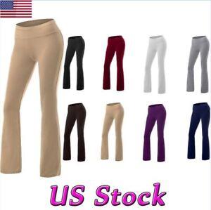 Women-High-Waist-Yoga-Slim-Pants-Flare-Boot-Leg-Cut-Stretch-Bottom-Lounge-Jogger