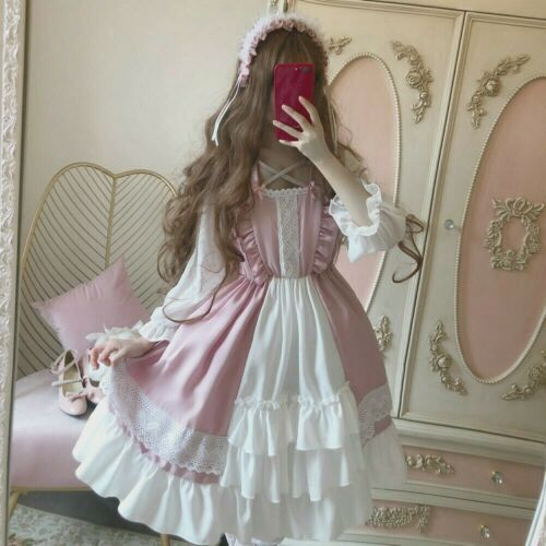 Details about  /Women Girl Dress Cosplay Lolita Costume Cute Kawaii Ruffle Puff Sleeve Pink Chic
