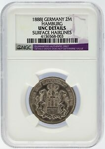 1888 J Germany 2 Mark 2M Silver Coin Hamburg NGC Graded UNC Details