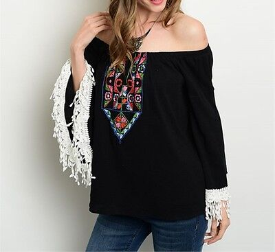 Ladies Black Multi Color Embroidered Off the Shoulder Top-RT16 CN273584