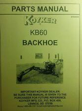 Koyker Kelly Kb60 B60 Backhoe Parts Manual 3 Three Point Attachment Tractor Cat1