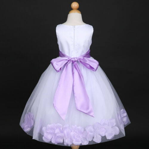 US Seller White Holiday Petals Wedding Flower Girl Dresses 12M 18M 2 3//4 6 8 10