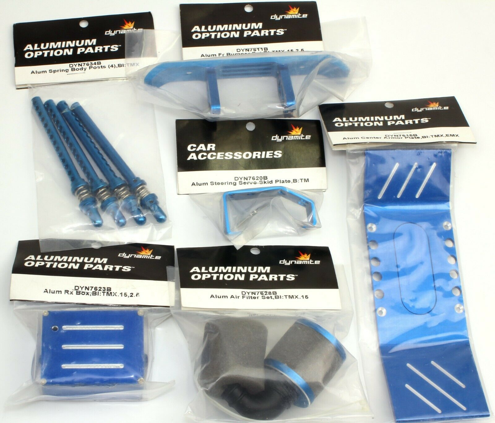 Traxxas T-Maxx 2.5 Dynamite Aluminum Upgrade Kit bluee.  Originally a  210 kit